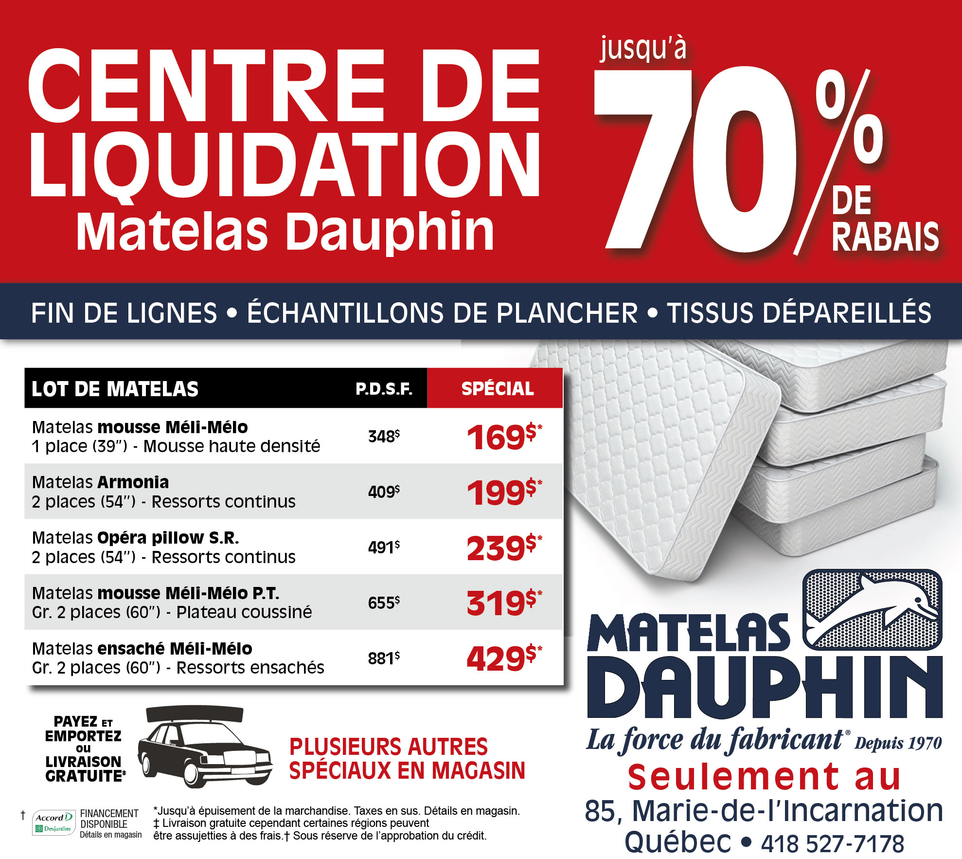 promotions matelas dauphin ForCentre Liquidation Matelas